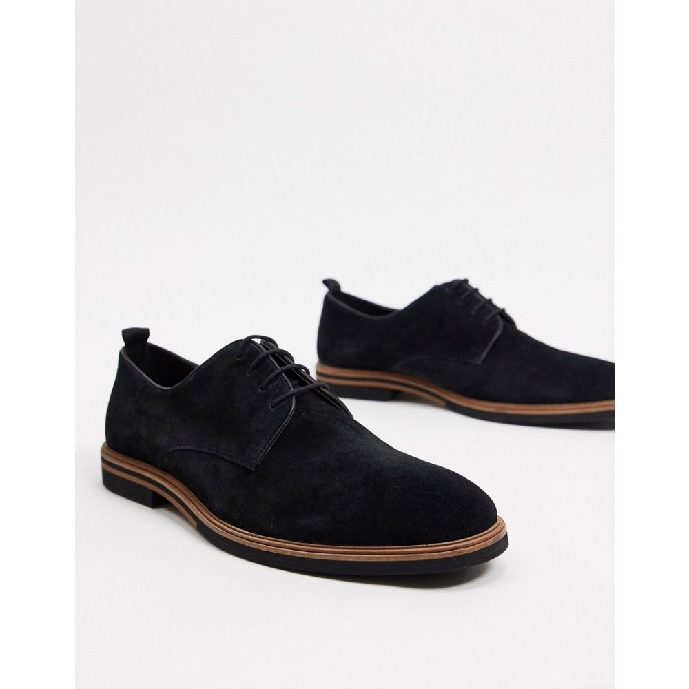 エイソス ASOS DESIGN メンズ シューズ・靴 レースアップ【lace up shoes in black suede with contrast sole】Black