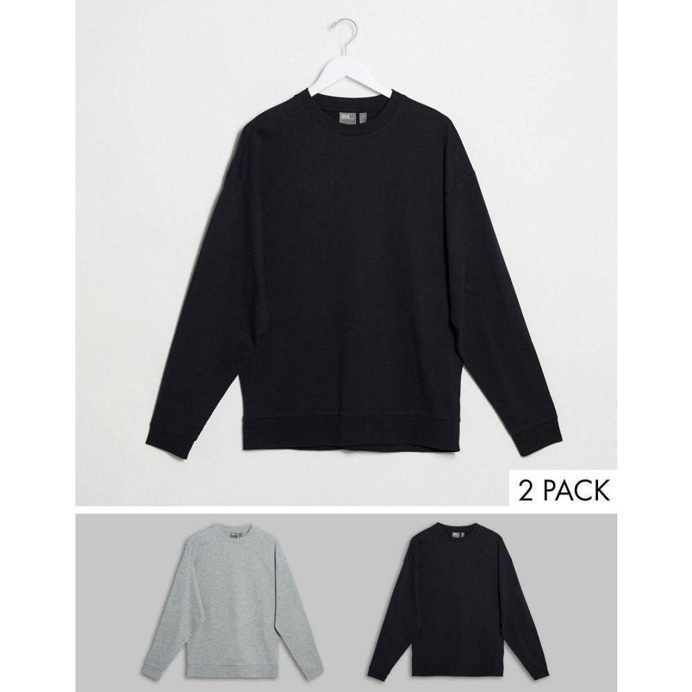 エイソス ASOS DESIGN メンズ スウェット・トレーナー 2点セット トップス【lightweight sweatshirt 2 pack navy/grey marl】Black/grey marl