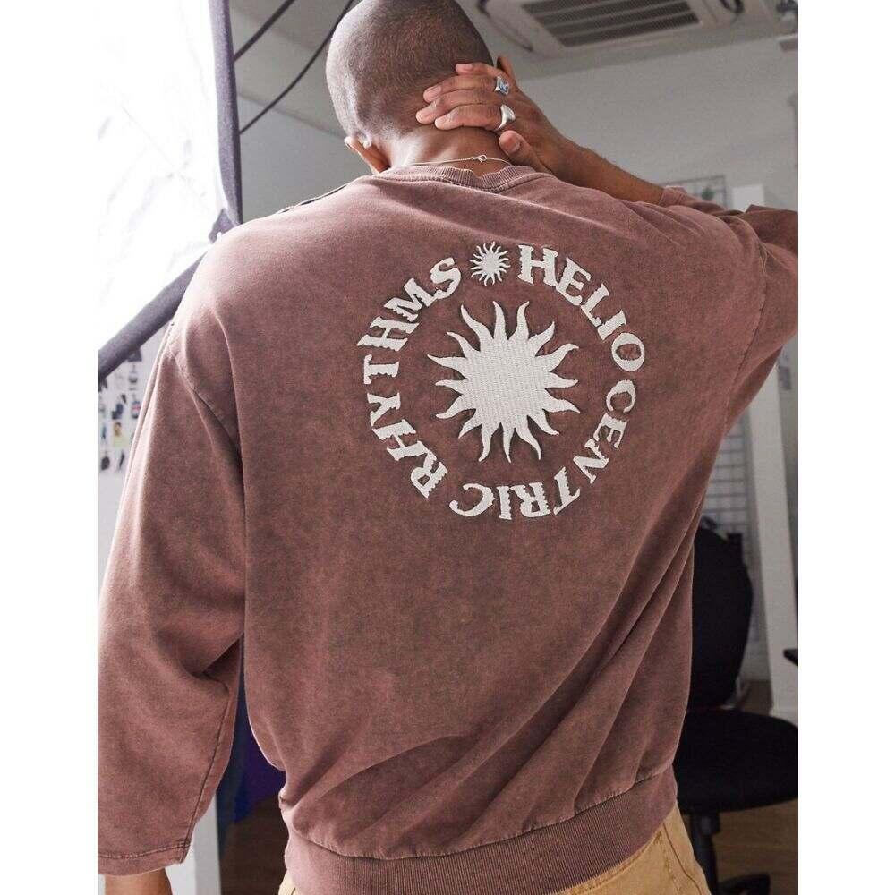エイソス ASOS DESIGN メンズ スウェット・トレーナー トップス【oversized sweatshirt with back print in a faded wash】Sable
