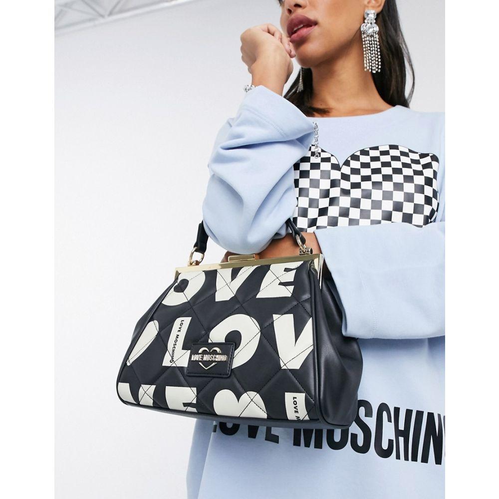印象のデザイン モスキーノ Love Moschino レディース バッグ 【Love Print Bag With Clasp In Black】Black, 有田市 c5936da5
