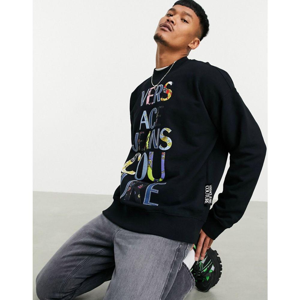 大人気定番商品 ヴェルサーチ Logo Versace Jeans Couture メンズ スウェット・トレーナー Work スウェット・トレーナー トップス【Patch Work Letter Logo Sweatshirt】Black, ナカイマチ:fa28865d --- experiencesar.com.ar