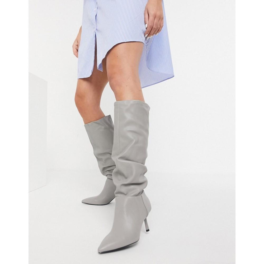 Leg Boot】Grey レディース ストラディバリウス Stradivarius Slouchy ブーツ シューズ・靴【High