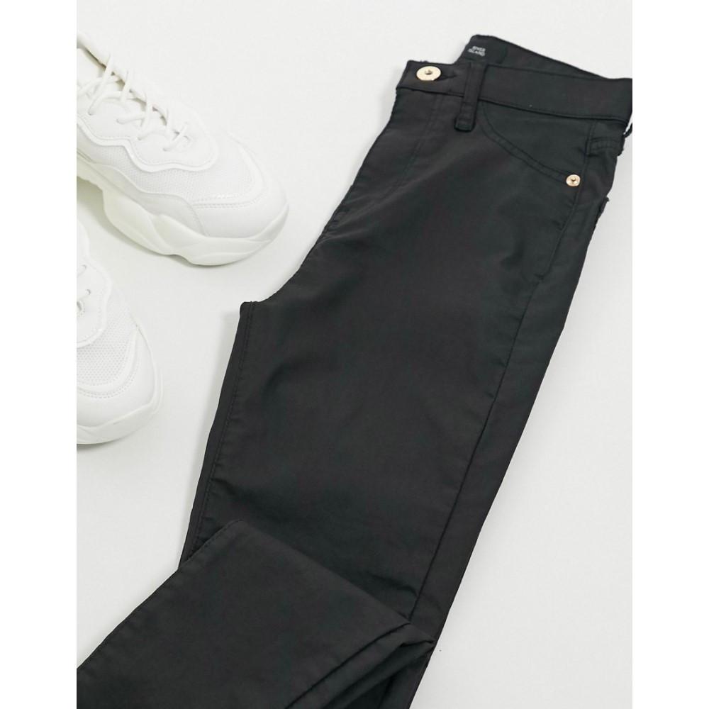 Waxed Jeans】Black ジーンズ・デニム Skinny リバーアイランド ボトムス・パンツ【High レディース Rise Island River