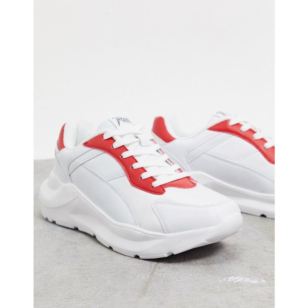 ルールロンドン Rule London メンズ スニーカー チャンキーヒール シューズ・靴【leo chunky trainer in white and red】White/red:フェルマート