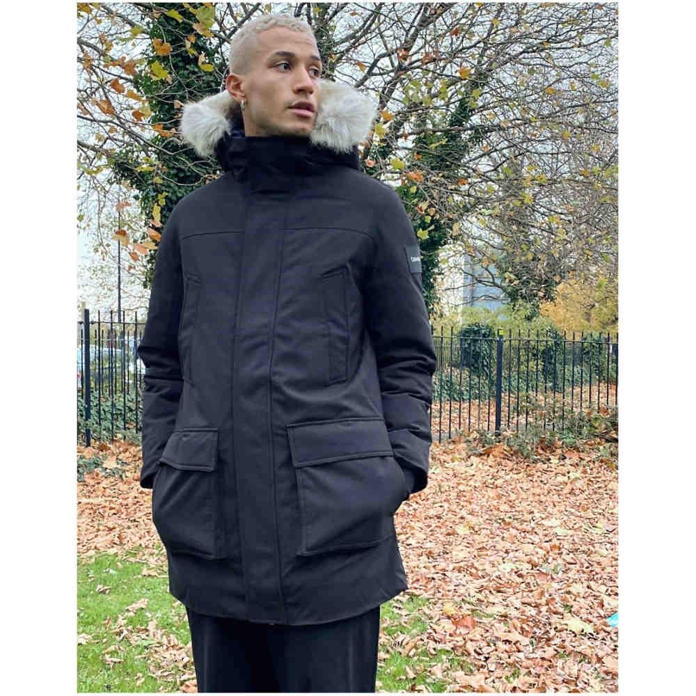 【70%OFF】 カルバンクライン Calvin Klein メンズ コート アウター【premium canvas faux fur hood parka in black】Ck black, キッズアイテム namioto 428a0df2