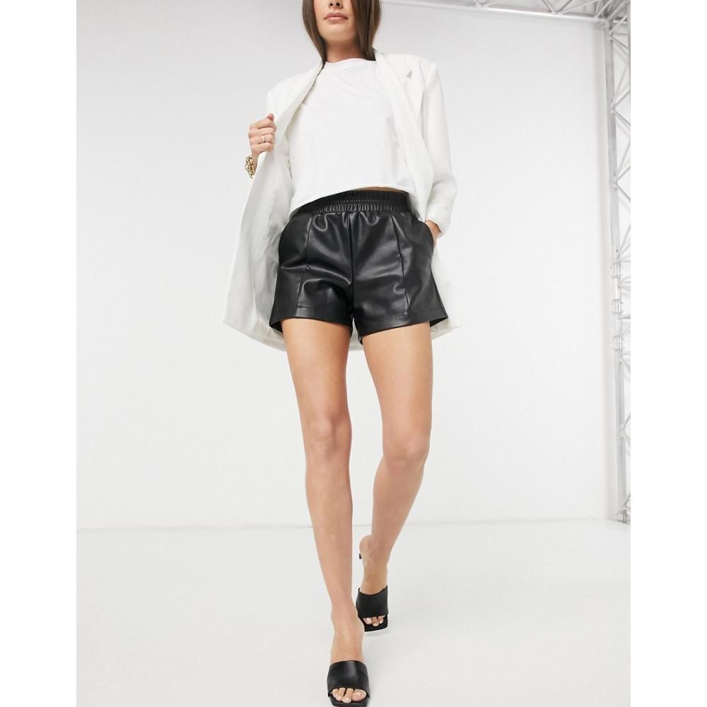 リバーアイランド shorts ショートパンツ in River black】Black leather Island ボトムス・パンツ【faux レディース