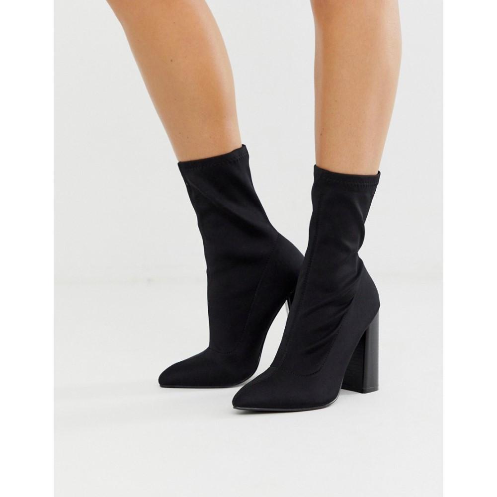 パブリックディザイア レディース 上質 シューズ 靴 ブーツ Black サイズ交換無料 Public Desire In High Boots Ankle ショートブーツ Libby Heeled 人気 Sock