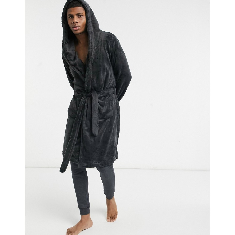 エイソス メンズ インナー・下着 ガウン・バスローブ Black 【サイズ交換無料】 エイソス ASOS DESIGN メンズ ガウン・バスローブ インナー・下着【lounge dressing gown in black fleece】Black