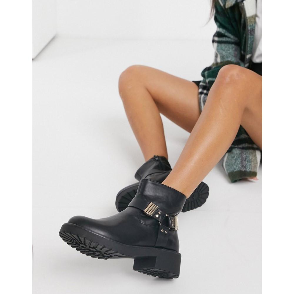 ロンドン レーベル レディース シューズ 靴 男女兼用 ブーツ Black pu Ankle ショートブーツ 通常便なら送料無料 サイズ交換無料 In London Boots Hardware Rebel