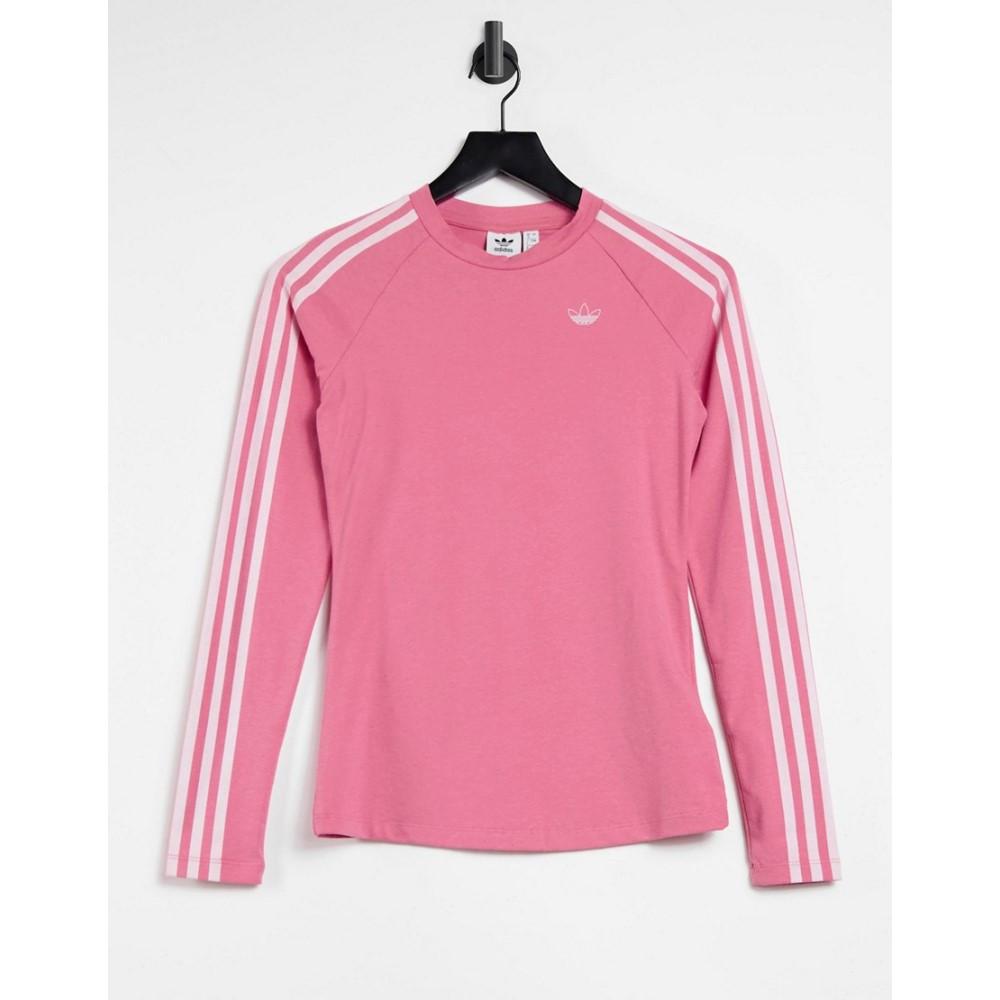 宅配便配送 アディダス adidas Stripe Originals レディース 長袖Tシャツ トップス【Fakten レディース アディダス Three Stripe Logo Fitted Long Sleeve Top In Hazy Rose】Pink, タキチョウ:3a4b2c65 --- coursedive.com