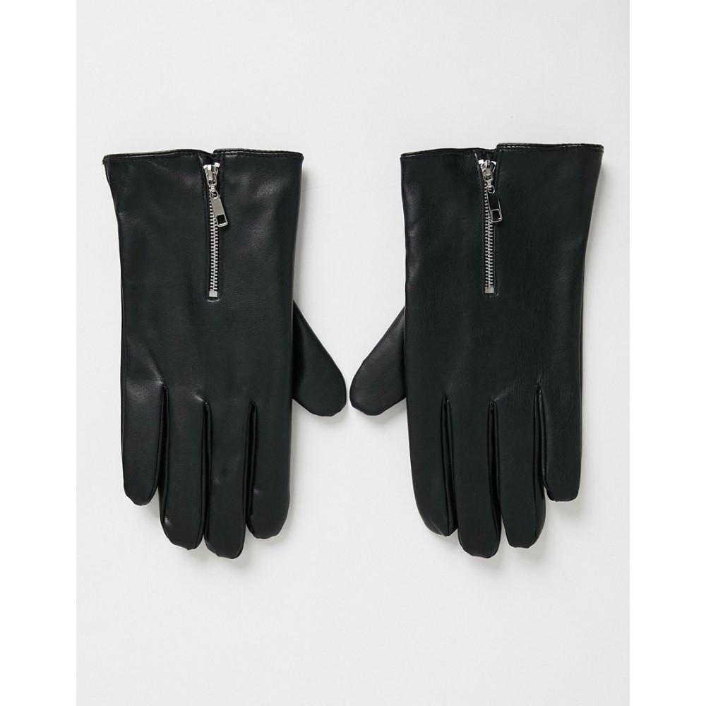 エイソス メンズ ファッション小物 手袋 グローブ Black サイズ交換無料 セール 登場から人気沸騰 ASOS DESIGN faux detail in with 早割クーポン leather touchscreen zip gloves