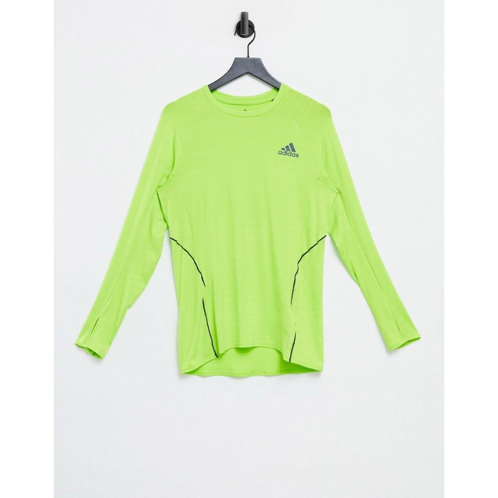 アディダス adidas performance メンズ ランニング・ウォーキング 長袖Tシャツ トップス【adidas Running long sleeve t-shirt in bright green】Green