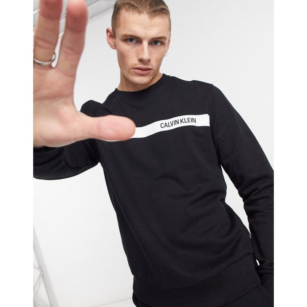 カルバンクライン メンズ トップス スウェット トレーナー Ck black サイズ交換無料 Calvin Black Contrast Sweatshirt 大決算セール In Stripe Chest Logo Klein セットアップ