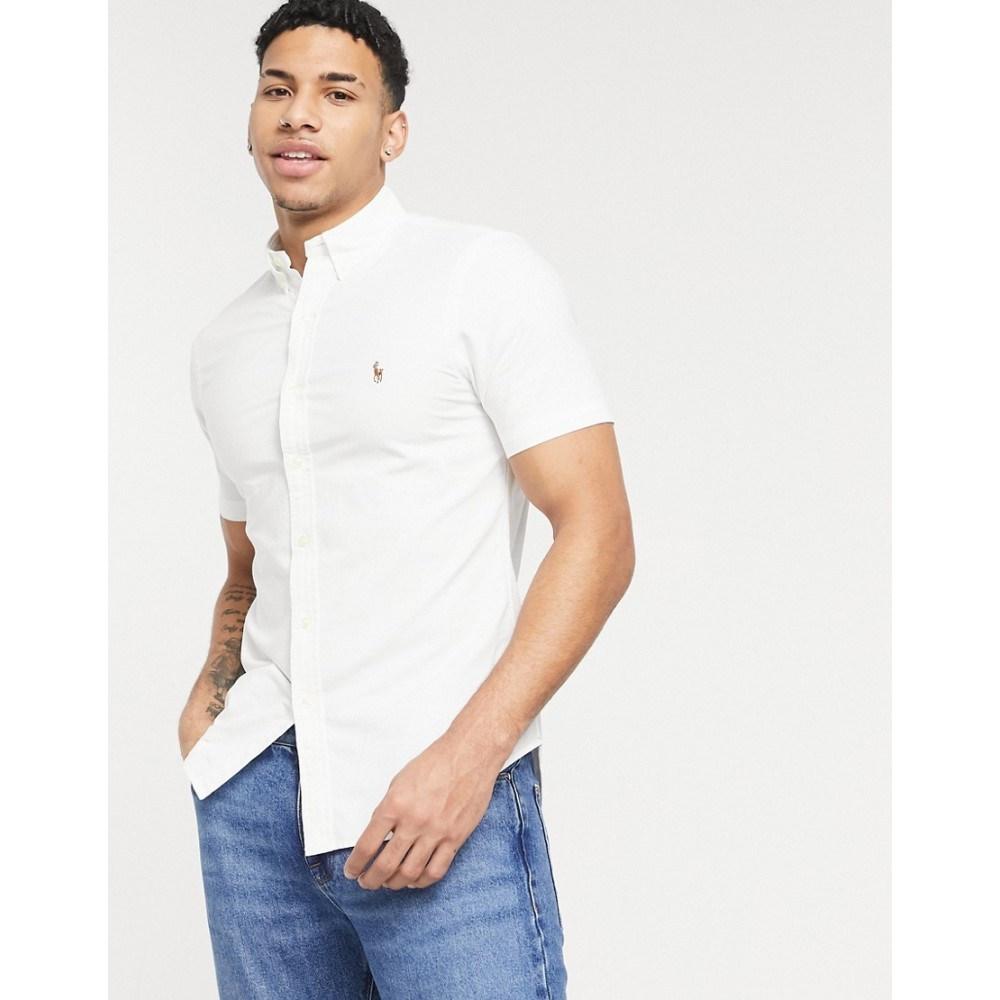 ラルフ ローレン モデル着用 注目アイテム メンズ トップス 大注目 半袖シャツ White サイズ交換無料 Polo Ralph Lauren ワイシャツ Classic Fit Logo Sleeve Short In Button Regular Custom Down Oxford Shirt Player
