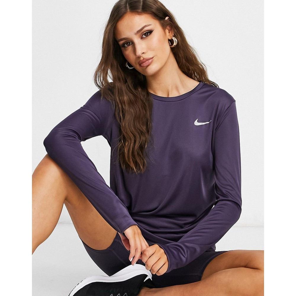 国内在庫 ナイキ レディース ランニング ウォーキング トップス Purple サイズ交換無料 Top Long Sleeve 完全送料無料 Nike Miler In Running