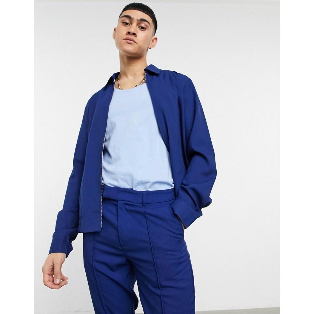 ASOS メンズ アウター【Asos In エイソス Jacket スイングトップ Pique Blue】Blue DESIGN Design Cobalt Smart ジャケット Harrington