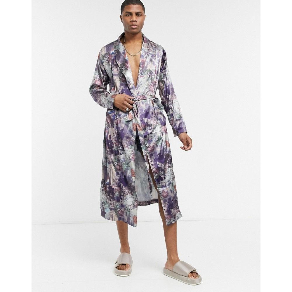 エイソス ASOS DESIGN メンズ ガウン·バスローブ インナー·下着【Asos Design Dressing Gown Co-Ord In Printed Satin】Multi