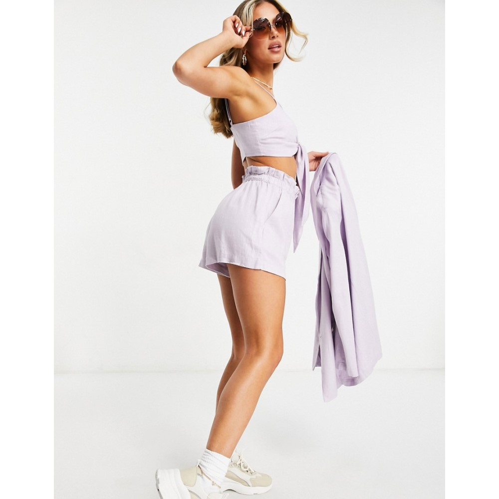 waist linen エイソス ボトムス・パンツ【washed paperbag with in shorts suit ASOS ショートパンツ lilac】Lilac DESIGN レディース