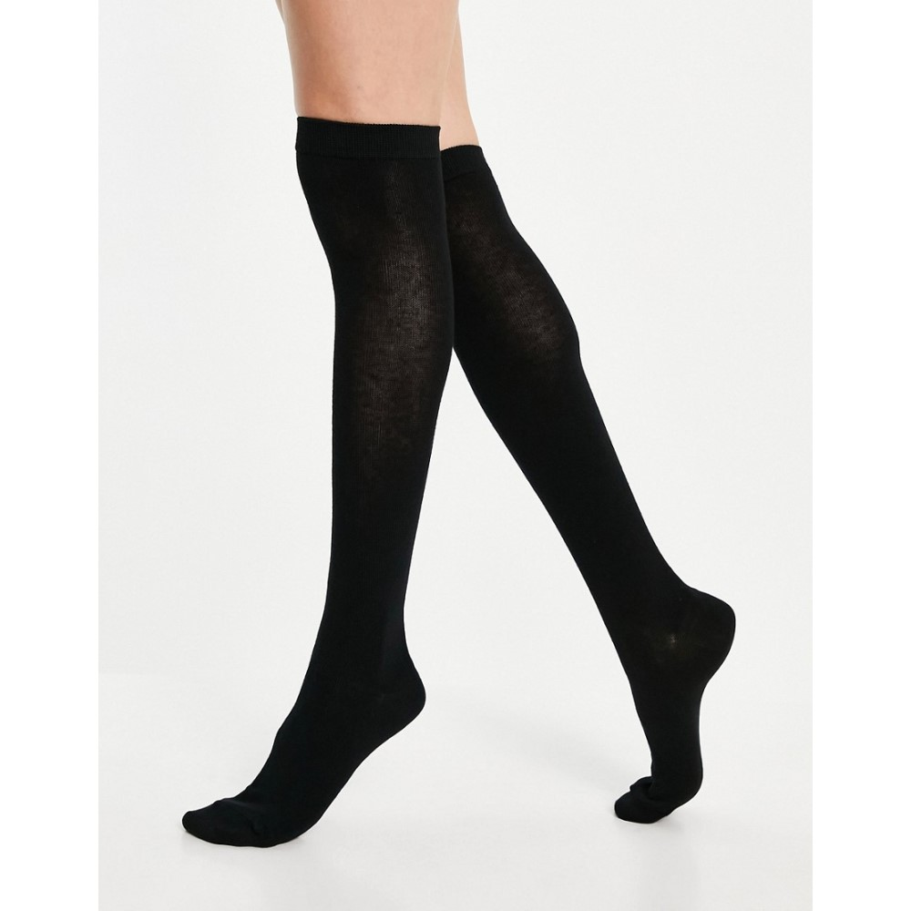 デポー エイソス レディース インナー 下着 ソックス Black サイズ交換無料 in socks 安心と信頼 knee ASOS DESIGN black high