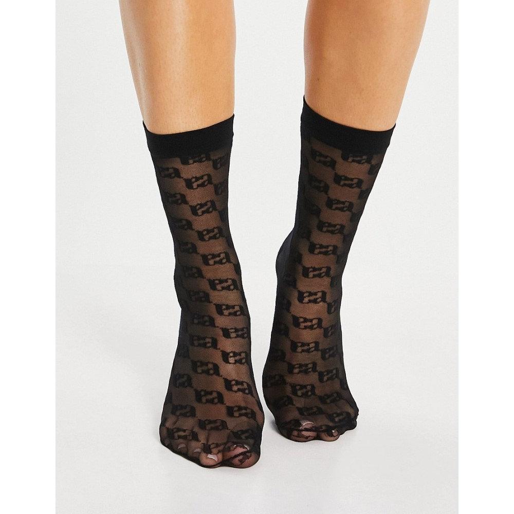 ●手数料無料!! エイソス レディース インナー 下着 ソックス Black ASOS Sock In Sheer Ankle Monogram 未使用 DESIGN