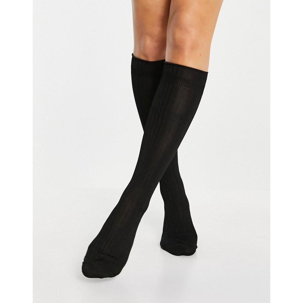 エイソス 通常便なら送料無料 レディース インナー 下着 ソックス Black ASOS High In Knee DESIGN Socks Slinky 最新アイテム