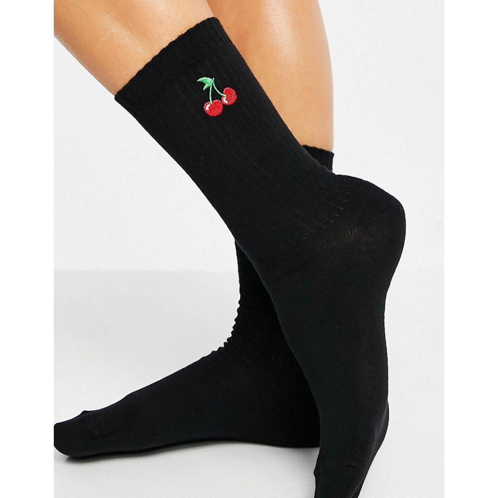 エイソス 再再販 レディース インナー 下着 ソックス Black 通販 激安◆ ASOS DESIGN Socks Rib Embroidery In Calf Length With Cherry