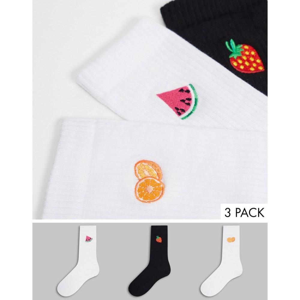 エイソス レディース インナー 下着 ソックス Multi ASOS DESIGN 受賞店 売り込み 3点セット fruit rib length with pack sock embroidery 3 calf