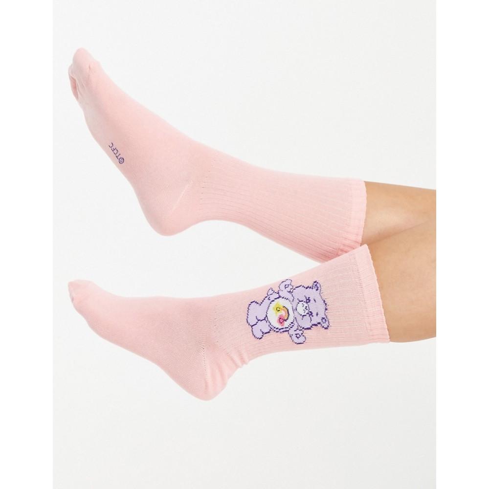 エイソス レディース インナー 下着 ソックス Peach 爆安プライス ASOS DESIGN Bears socks length calf peach Care in 絶品 rib