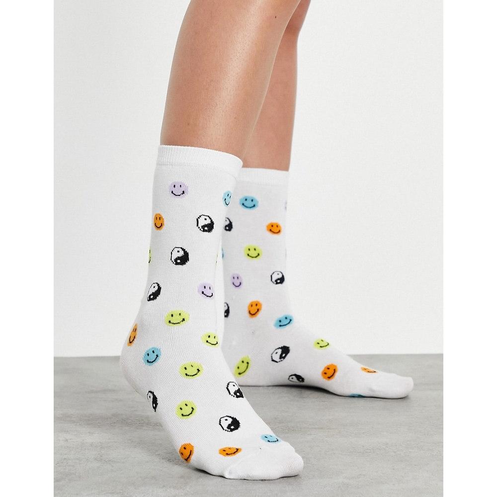 エイソス レディース インナー 贈呈 下着 ソックス 値下げ Multi ASOS DESIGN calf and white in face yin print yang socks length