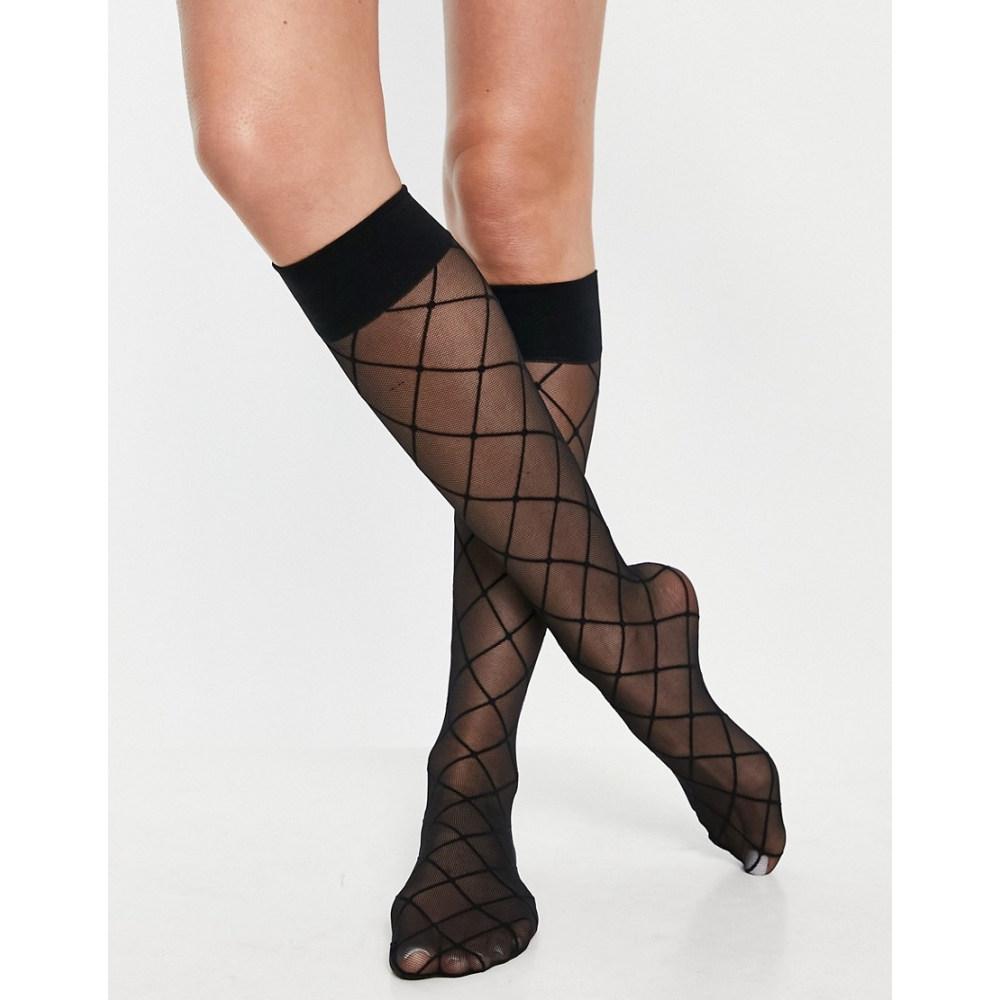 エイソス レディース インナー 下着 ソックス Black ASOS DESIGN knee テレビで話題 high お見舞い in black socks with tulle argyles