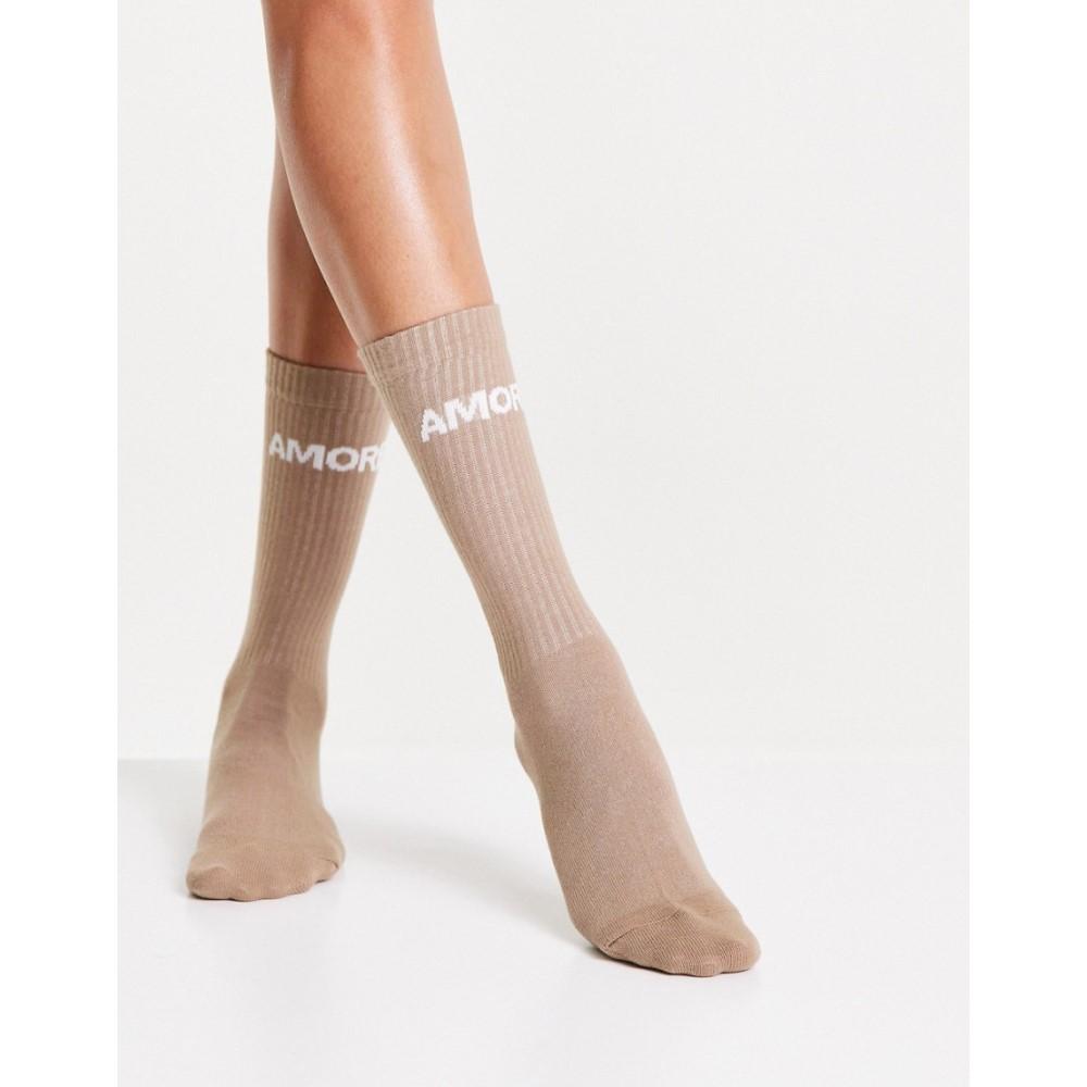 エイソス レディース インナー 下着 ソックス Beige ASOS DESIGN length calf beige 売り出し in 激安セール sock rib front logo