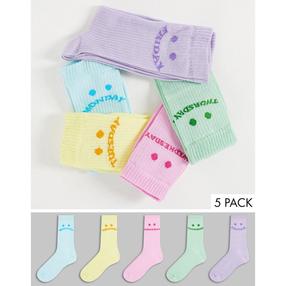 エイソス レディース インナー 下着 ソックス Multi ASOS DESIGN 5点セット Asos Design AL完売しました 5 Pack Tones 全品送料無料 In Socks Calf Pastel Week Rib The Face Length Days Of
