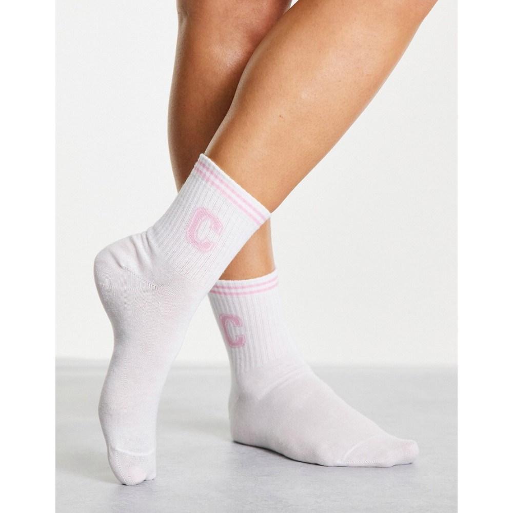 エイソス レディース インナー 下着 ソックス 直営ストア White ASOS ランキングTOP10 DESIGN Asos Socks In Stripe Initial Welt With C Design Varsity