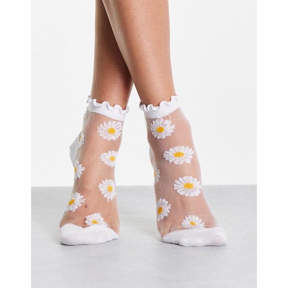 エイソス レディース インナー 下着 ソックス White ASOS DESIGN sheer welt socks 大特価 ankle frill daisy 上品 with mesh printed