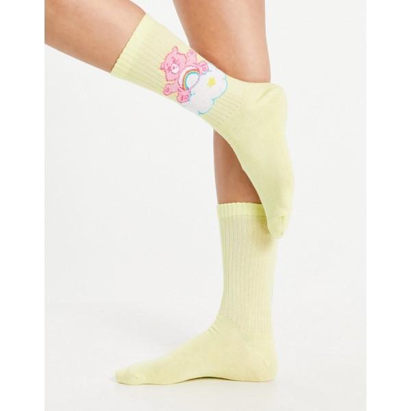 エイソス レディース 新色 インナー 下着 ソックス Lemon ASOS DESIGN calf lemon socks Bears Care rib length in ファクトリーアウトレット