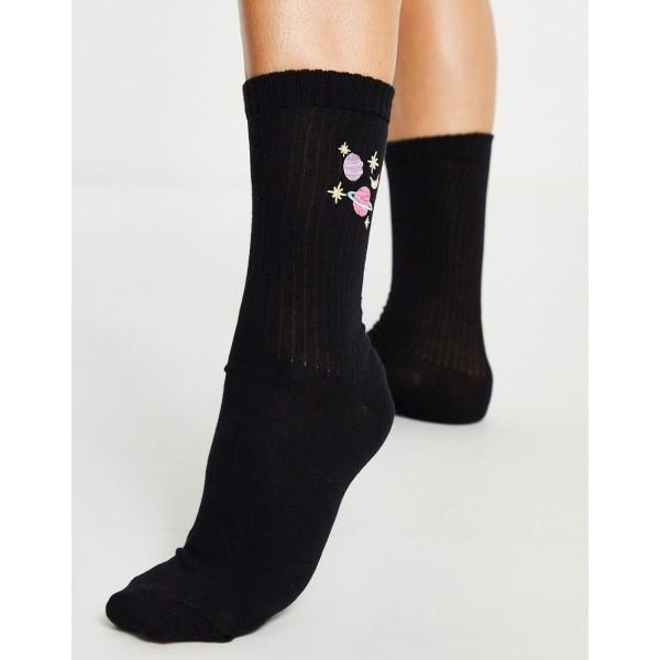 エイソス レディース インナー 下着 奉呈 ソックス Black ASOS DESIGN length ●日本正規品● rib in embroidered black planet socks calf