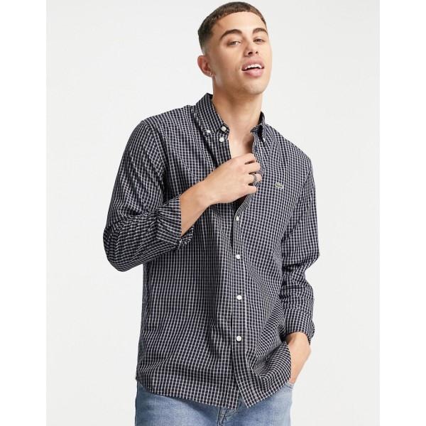 ラコステ メンズ 驚きの値段 トップス シャツ 卓出 BLUE サイズ交換無料 check Lacoste shirt sleeve long