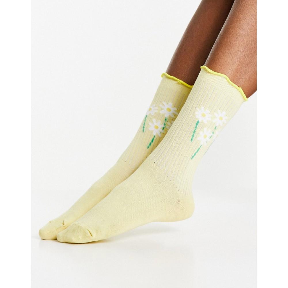エイソス 爆買いセール レディース インナー 下着 ソックス Lemon ASOS DESIGN frill top in with lemon 売れ筋 calf socks floral motif length rib