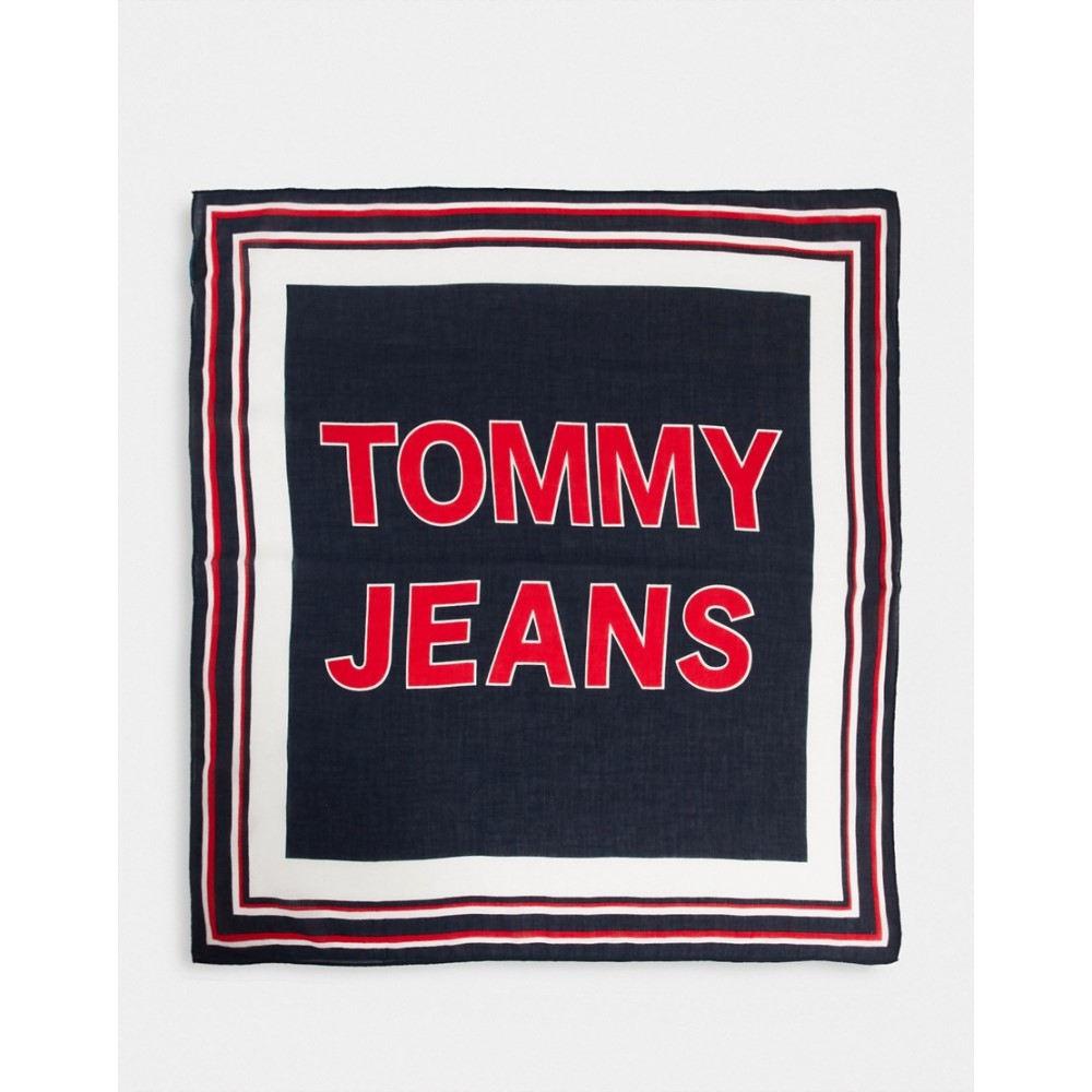 トミー ジーンズ レディース ファッション小物 マフラー スカーフ ストール 在庫処分 Black logo black ラッピング無料 in bandana Jeans サイズ交換無料 scarf Tommy