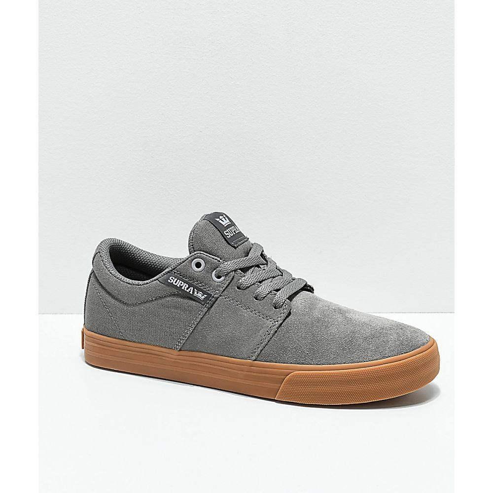 【残り一点限り!】【サイズ:25cm】スープラ Supra【SUPRA Stacks II Vulc Light Grey & Gum Skate Shoes Grey】メンズ スケートボード シューズ・靴【あす楽】