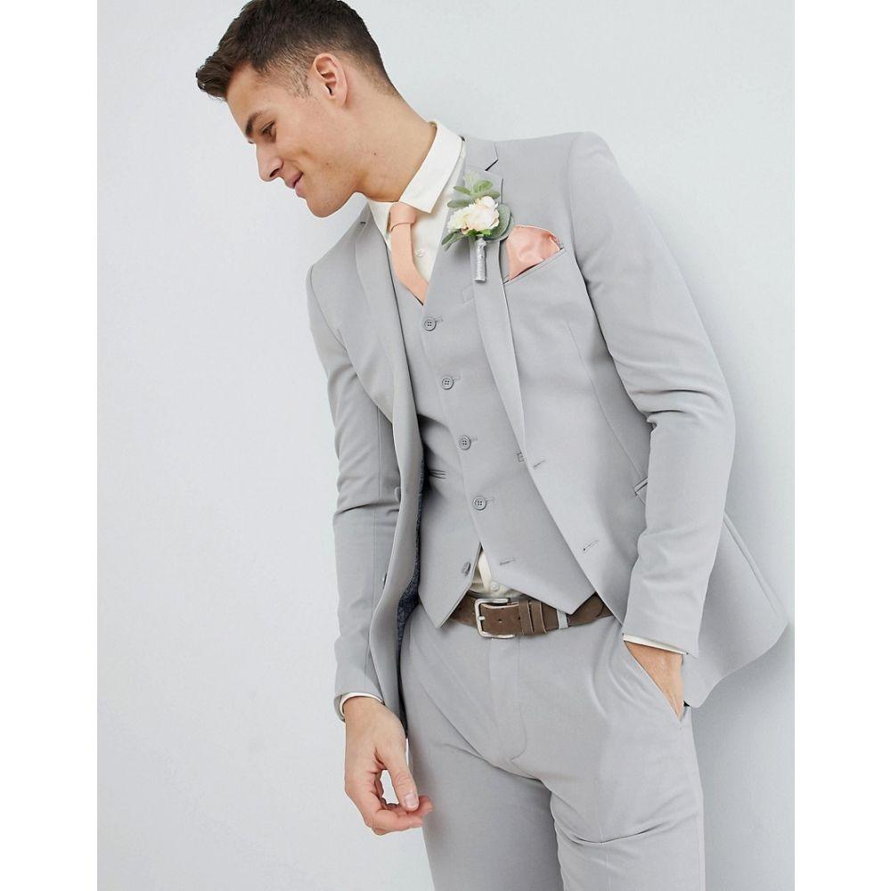 【残り一点限り!】【サイズ:Chest34inRegular】エイソス ASOS【DESIGN Super Skinny Suit Jacket In Ice Grey】メンズ アウター スーツ・ジャケット【あす楽】