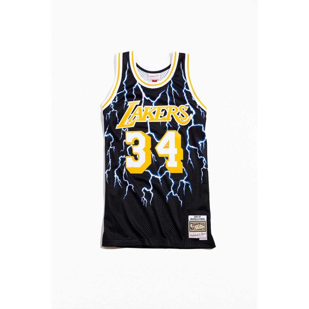 【残り一点限り!】【サイズ:M】ミッチェル&ネス Mitchell & Ness【Los Angeles Lakers Shaquille O'Neal Lightning Basketball Jersey Black】メンズ バスケットボール トップス【あす楽】