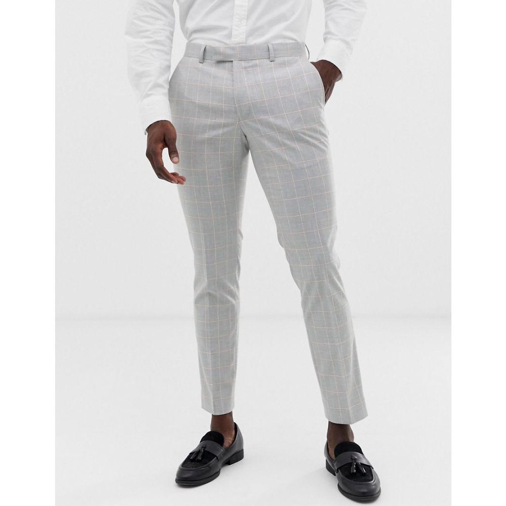 モス ブラザーズ メンズ ボトムス パンツ スラックス 完全送料無料 与え 残り一点限り サイズ:W28inL30in MOSS BROS Moss London with grey check あす楽 suit Grey windowpane trouser in slim stretch
