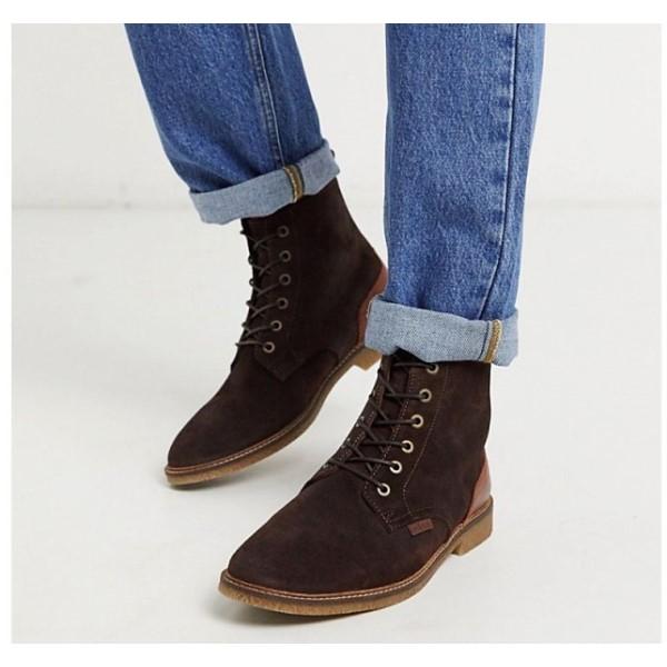 【残り一点限り!】【サイズ:UK10】バブアー Barbour【Mojave suede lace-up boots in dark brown】メンズ シューズ・靴 ブーツ【あす楽】