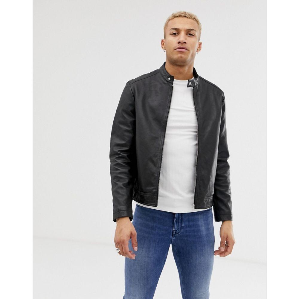 【残り一点限り!】【サイズ:XS】エイソス ASOS【DESIGN leather racing biker jacket in black Black】メンズ アウター レザージャケット【あす楽】