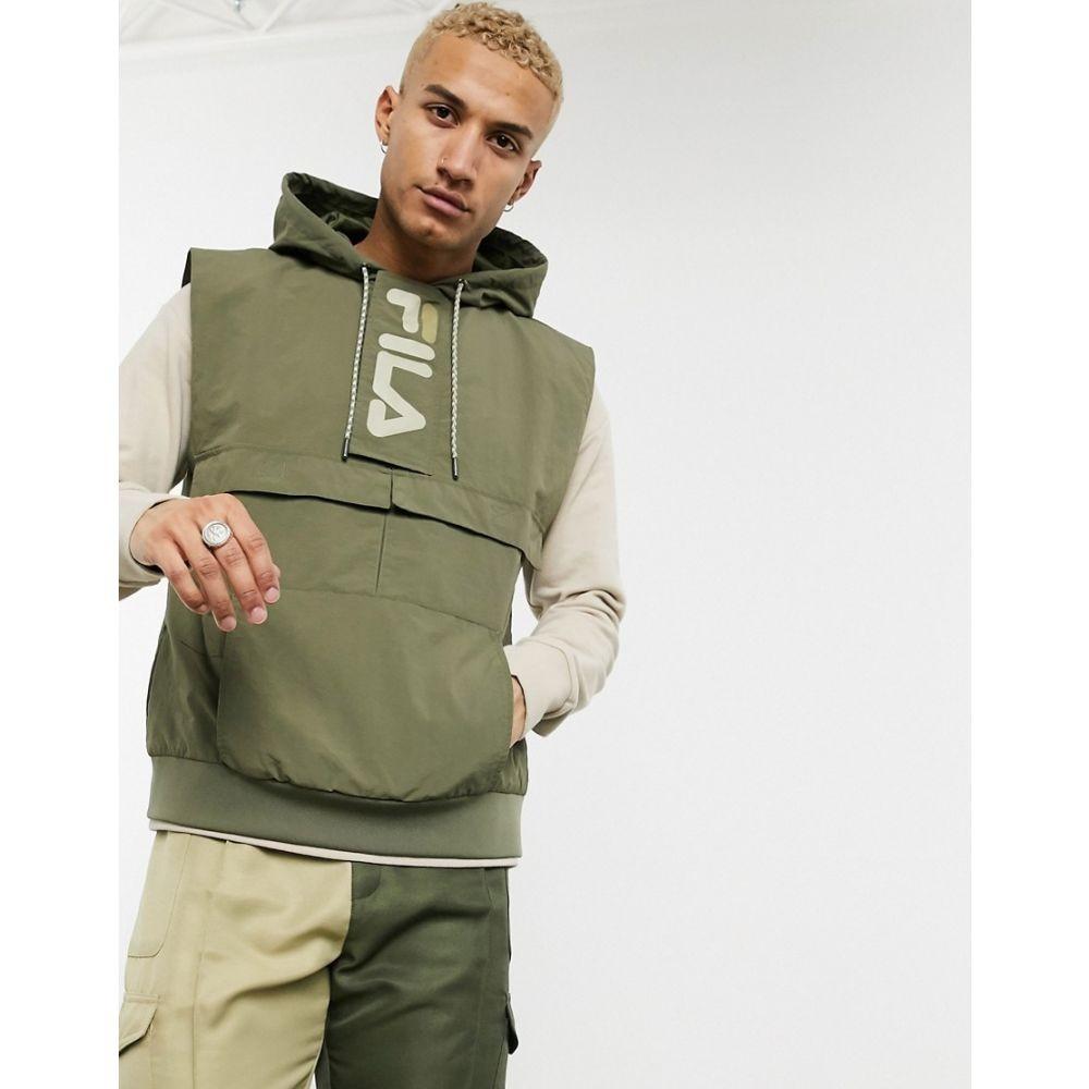 【残り一点限り!】【サイズ:S】フィラ Fila【Soul cargo vest with hood in khaki】メンズ トップス ベスト・ジレ【あす楽】