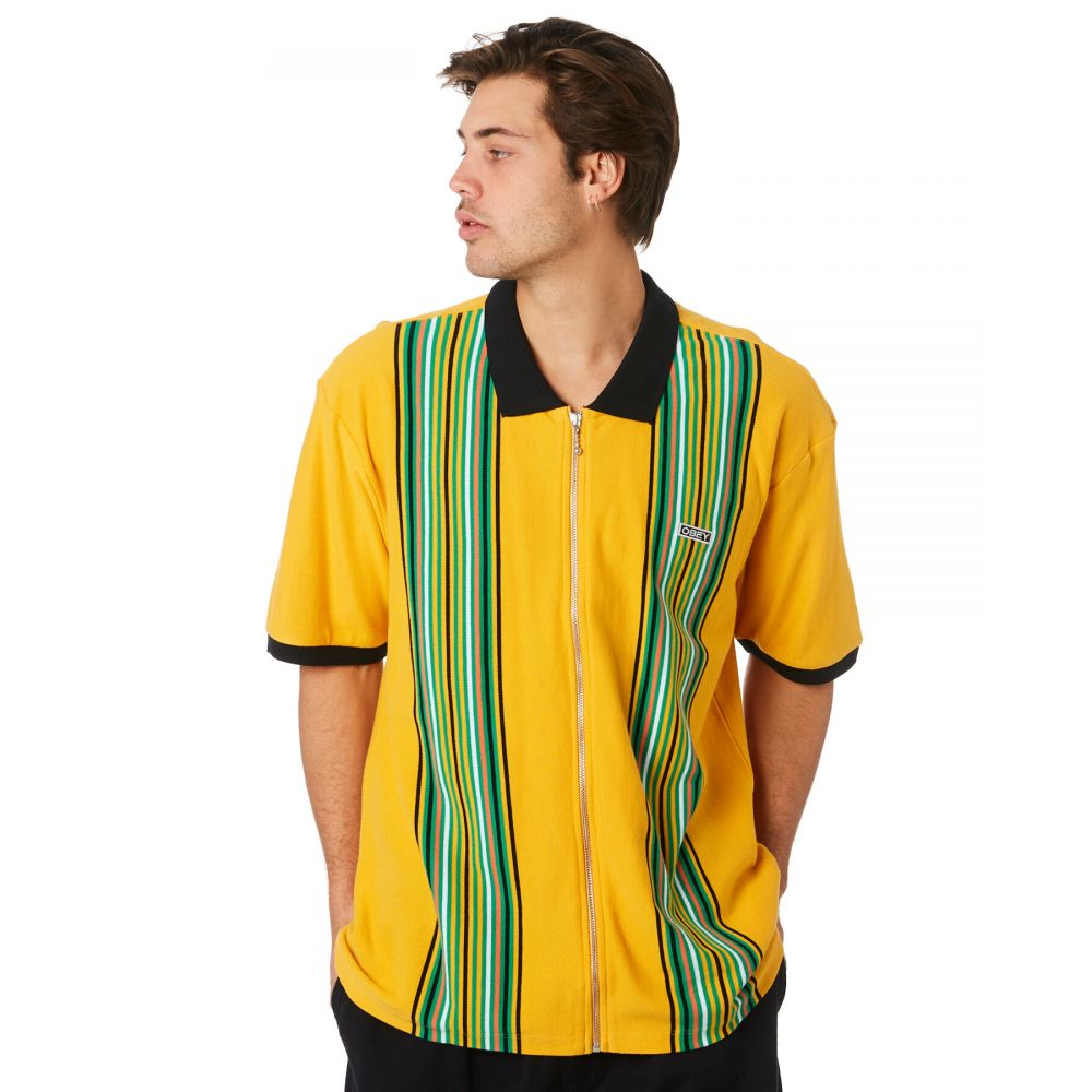 オベイ Obey メンズ トップス ポロシャツ【Kelly Classic Zip Polo Shirt】Energy yellow multi
