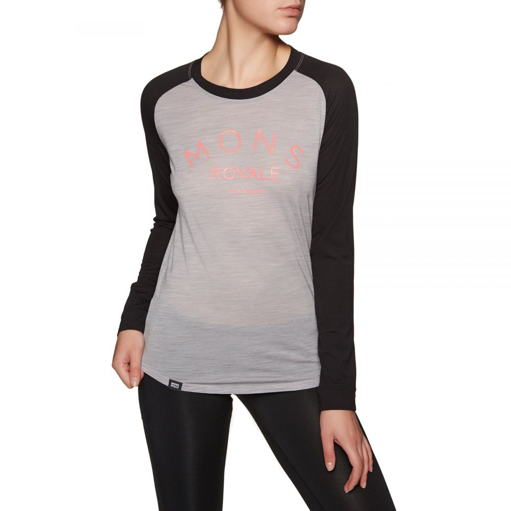 モンスロイヤル Mons Royale レディース トップス【Viva La Raglan Base Layer Top】Black/grey Marl