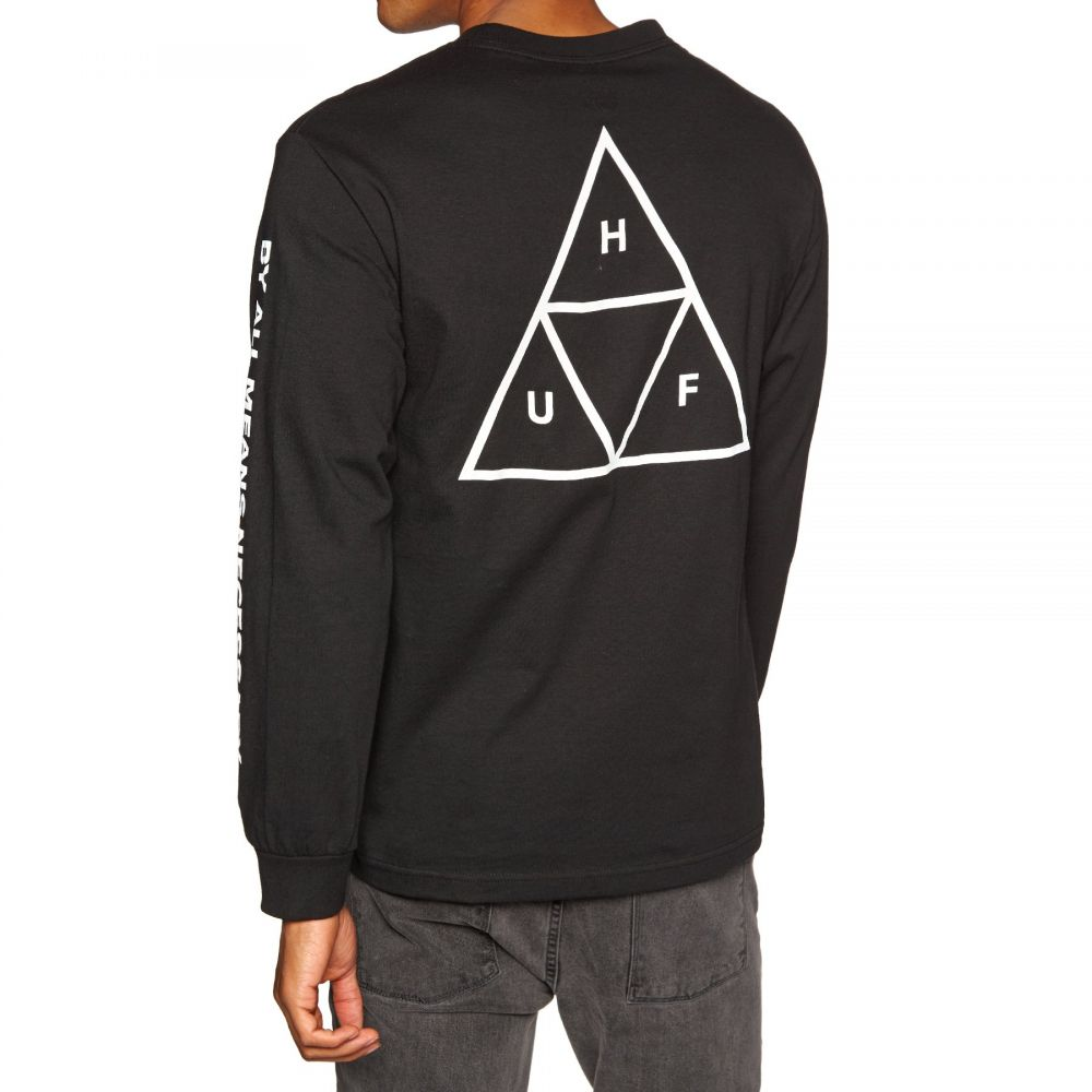 ハフ Huf メンズ トップス 長袖Tシャツ【Essentials Triple Triangle Long Sleeve T-Shirt】Black