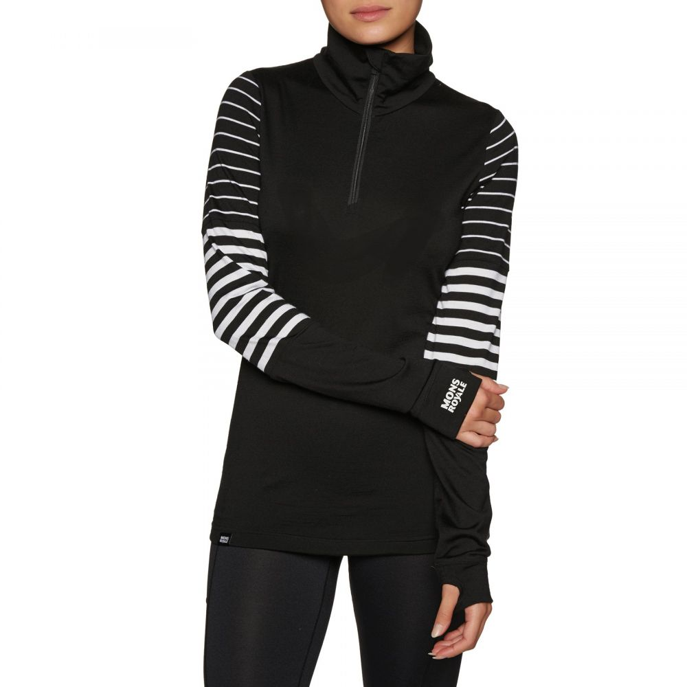 モンスロイヤル Mons Royale レディース トップス ベースレイヤー【Cornice Half Zip Base Layer Top】Black/thick Stripe/thin Stripe